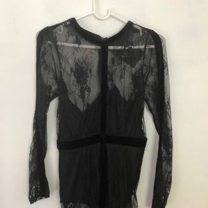 Sheer lace black dress with body suit under